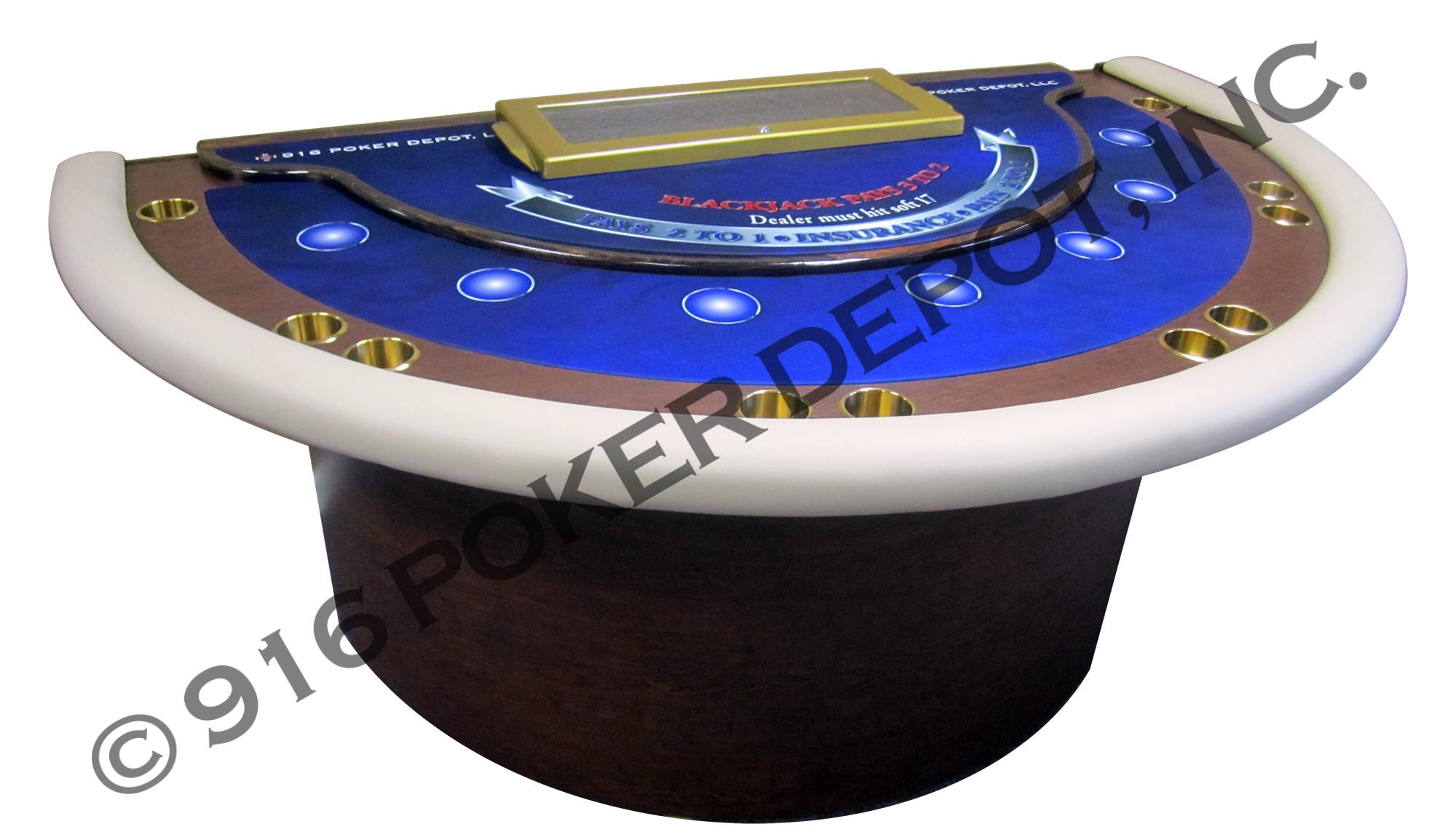 Two-Tier Blackjack Table with Barrel Base