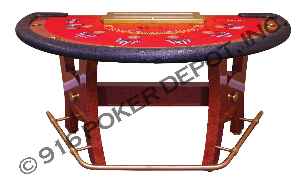 Blackjack Table with Drink Railing, H-Base and Foot Railing