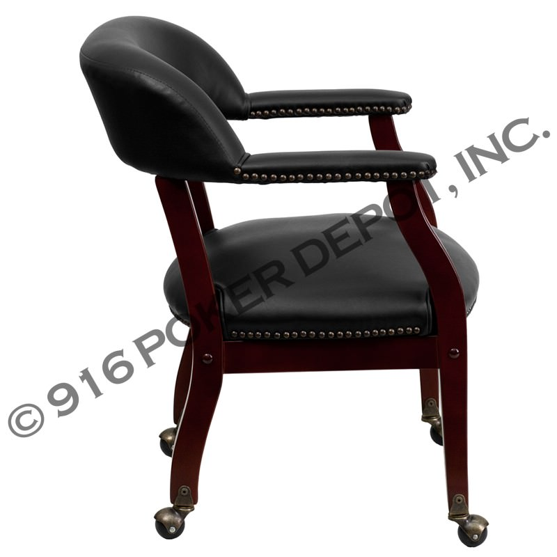 Rolling Luxurious Mahogany Poker Chair