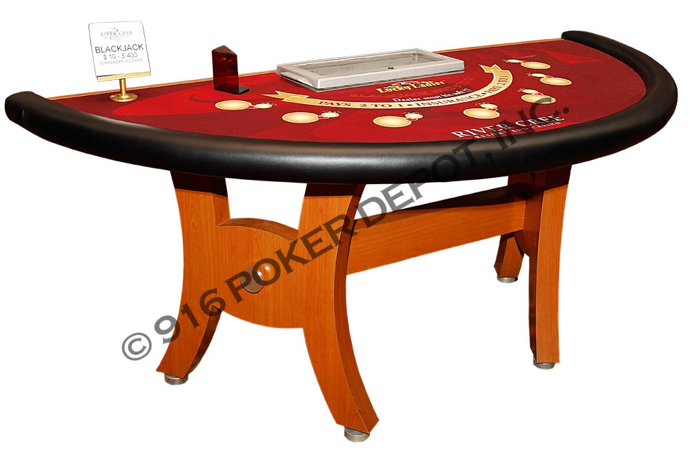 Blackjack Table with H-Style Base in Cherry Formica Laminate