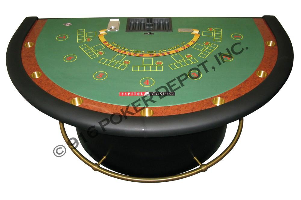 Oversized Blackjack Table with Barrel Base